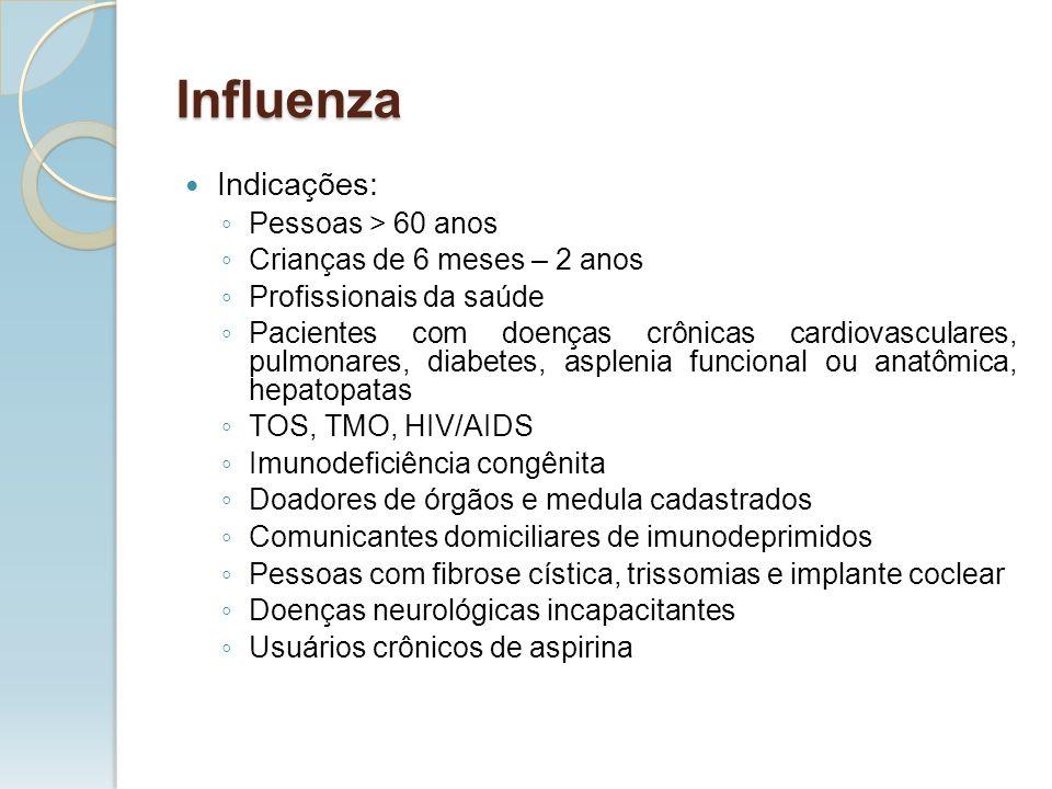 Influenza Indicações: Pessoas > 60 anos