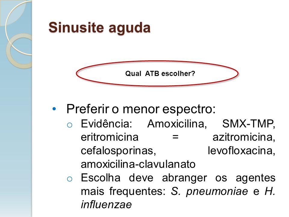 Sinusite aguda Preferir o menor espectro: