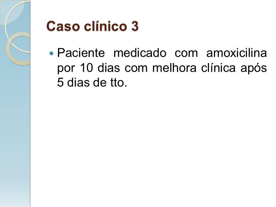 Caso clínico 3 Paciente medicado com amoxicilina por 10 dias com melhora clínica após 5 dias de tto.
