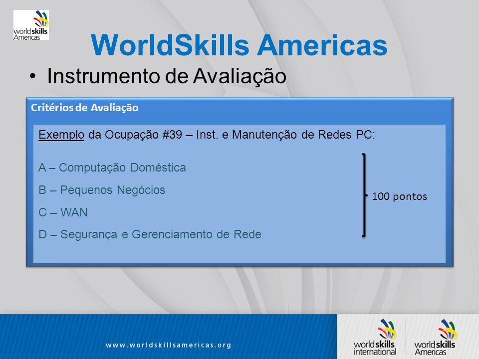 WorldSkills Americas Instrumento de Avaliação Critérios de Avaliação