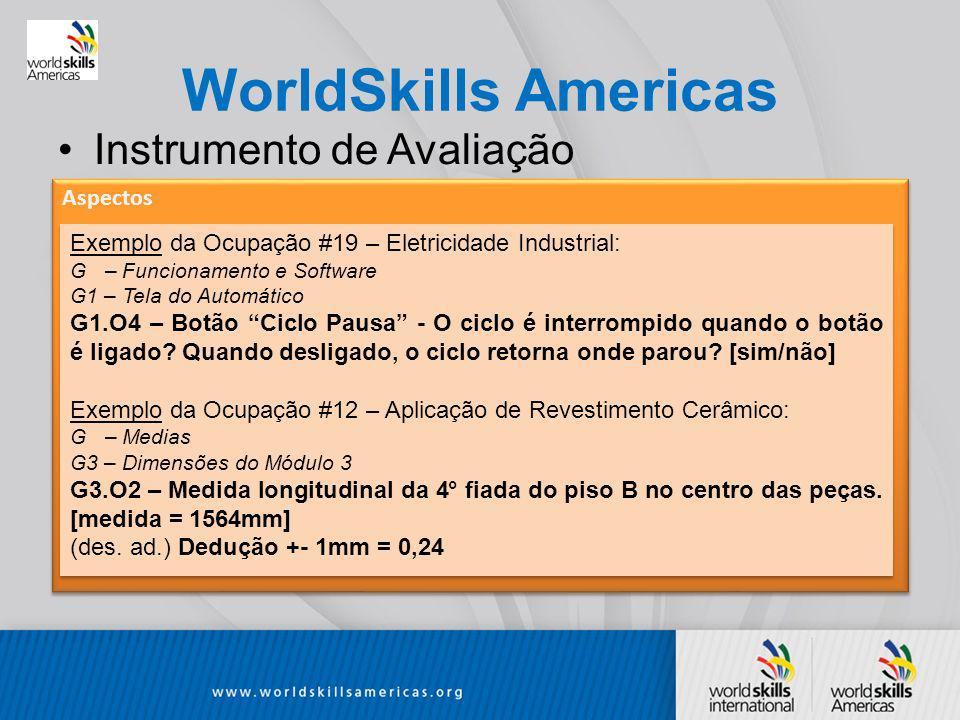 WorldSkills Americas Instrumento de Avaliação Aspectos