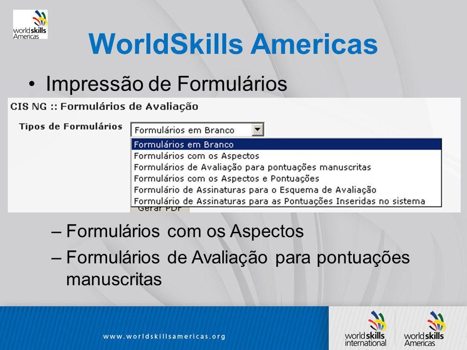 WorldSkills Americas Impressão de Formulários