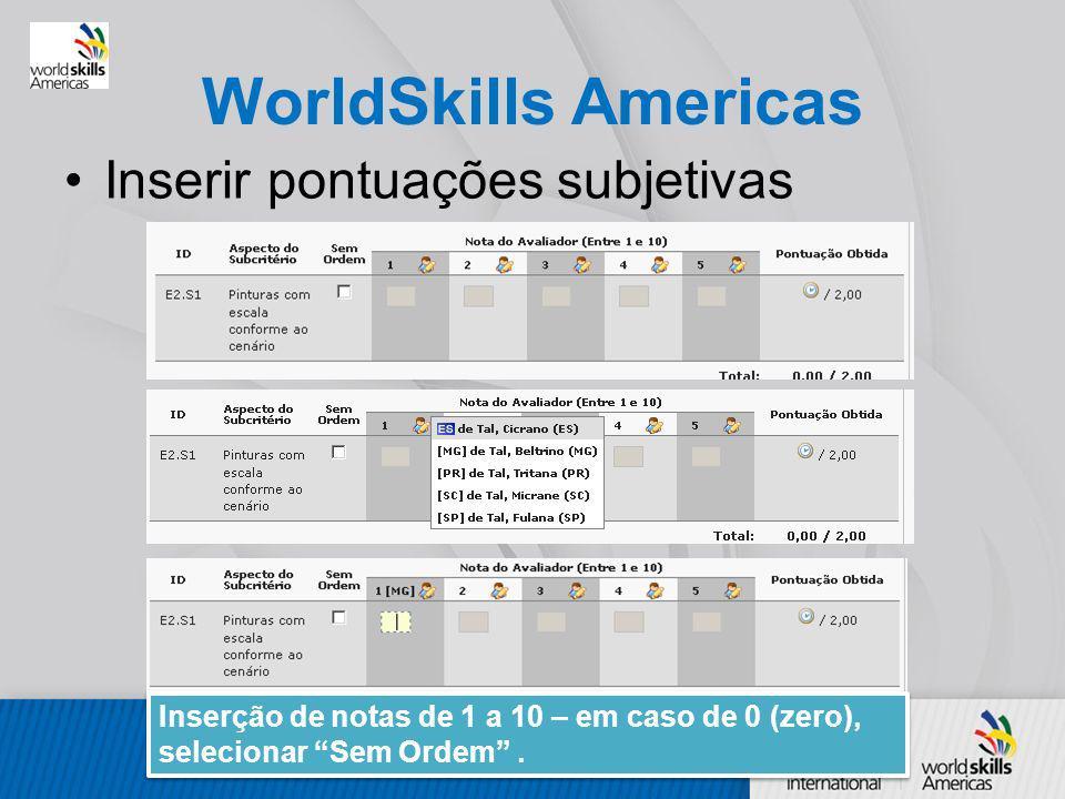 WorldSkills Americas Inserir pontuações subjetivas