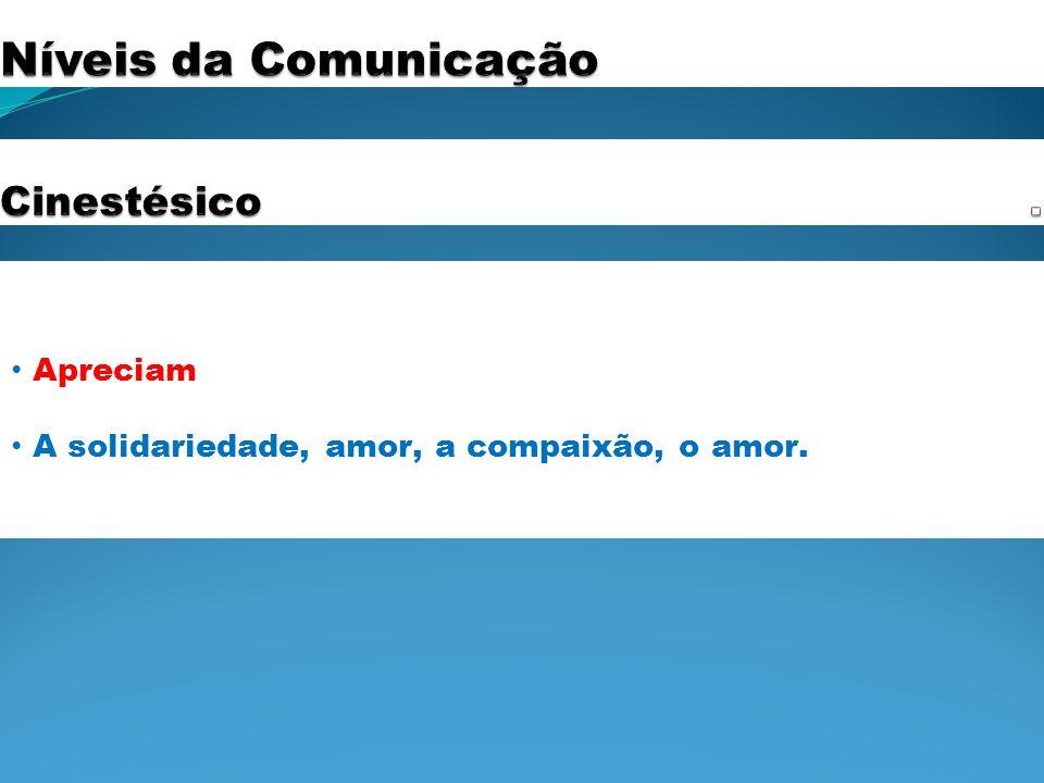 Níveis da Comunicação . Cinestésico Apreciam
