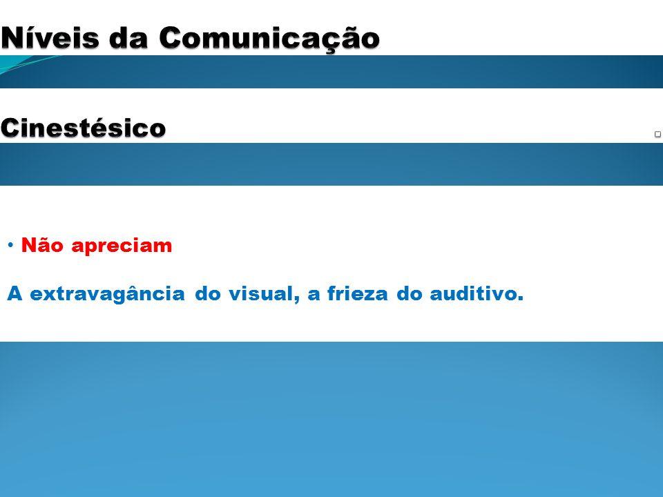 Níveis da Comunicação . Cinestésico Não apreciam