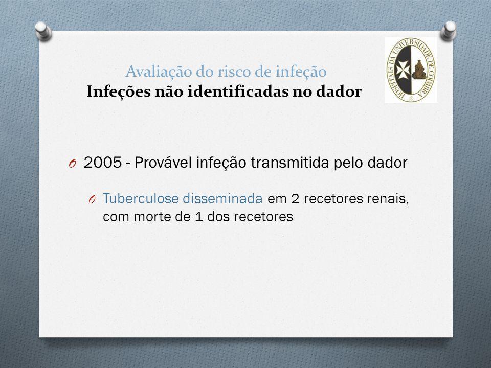 Avaliação do risco de infeção Infeções não identificadas no dador