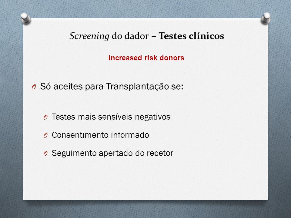Screening do dador – Testes clínicos