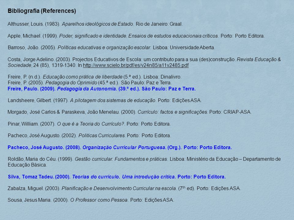 Bibliografia (References)