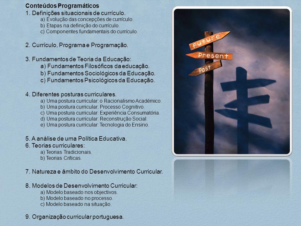 Conteúdos Programáticos 1. Definições situacionais de currículo.