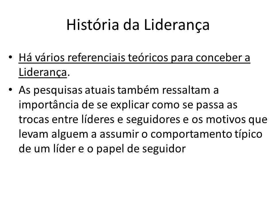 História da Liderança Há vários referenciais teóricos para conceber a Liderança.