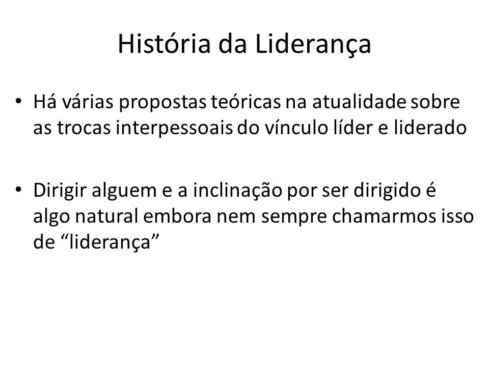 História da Liderança Há várias propostas teóricas na atualidade sobre as trocas interpessoais do vínculo líder e liderado.