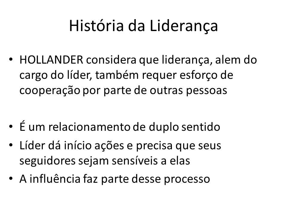 História da Liderança HOLLANDER considera que liderança, alem do cargo do líder, também requer esforço de cooperação por parte de outras pessoas.