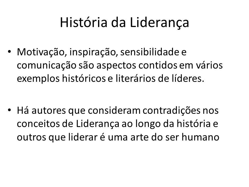 História da Liderança Motivação, inspiração, sensibilidade e comunicação são aspectos contidos em vários exemplos históricos e literários de líderes.
