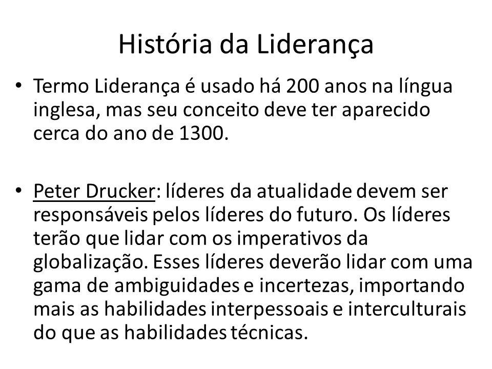 História da Liderança Termo Liderança é usado há 200 anos na língua inglesa, mas seu conceito deve ter aparecido cerca do ano de 1300.
