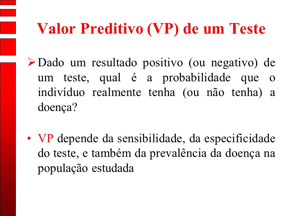Valor Preditivo (VP) de um Teste