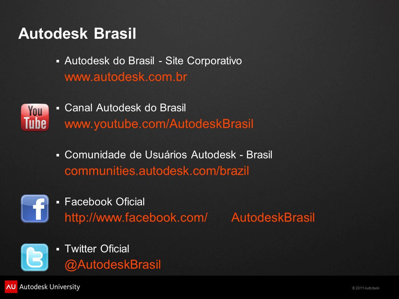 Autodesk Brasil www.autodesk.com.br www.youtube.com/AutodeskBrasil