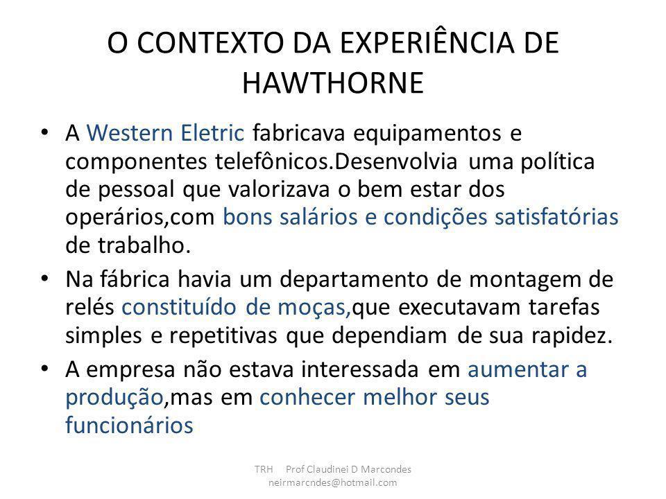 O CONTEXTO DA EXPERIÊNCIA DE HAWTHORNE