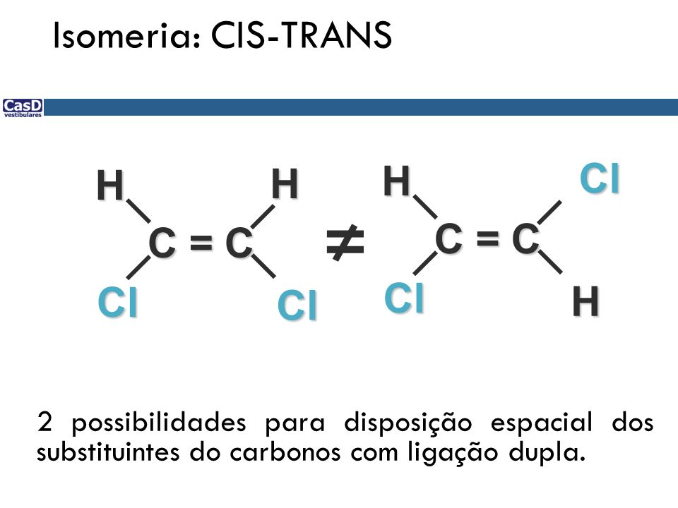 ≠ Isomeria: CIS-TRANS Cl H H C = C C = C Cl H Cl