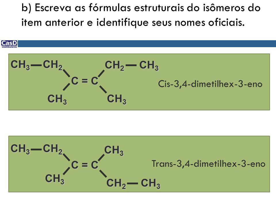 b) Escreva as fórmulas estruturais do isômeros do item anterior e identifique seus nomes oficiais.