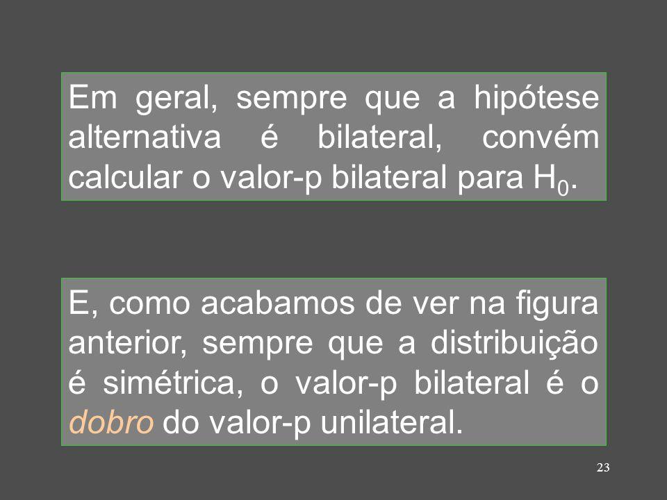 Em geral, sempre que a hipótese alternativa é bilateral, convém calcular o valor-p bilateral para H0.