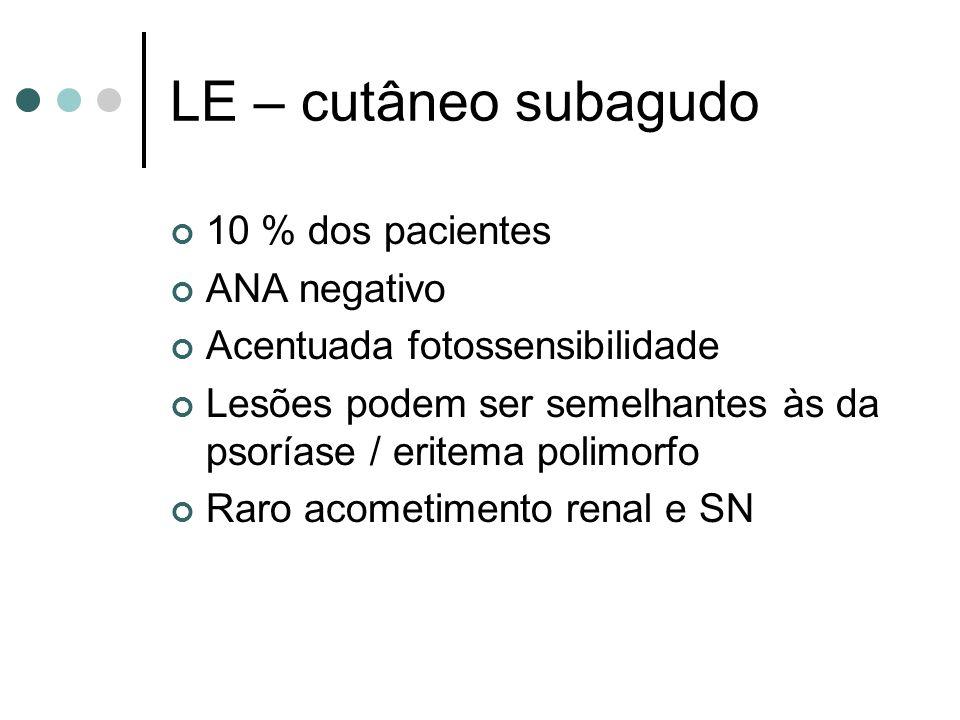 LE – cutâneo subagudo 10 % dos pacientes ANA negativo