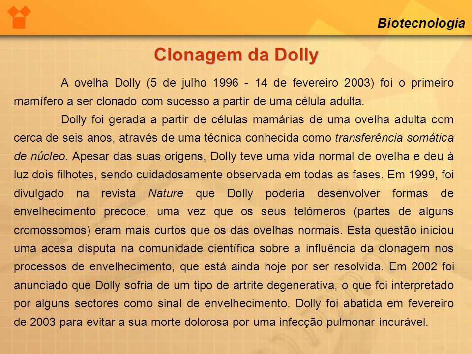 Clonagem da Dolly Biotecnologia