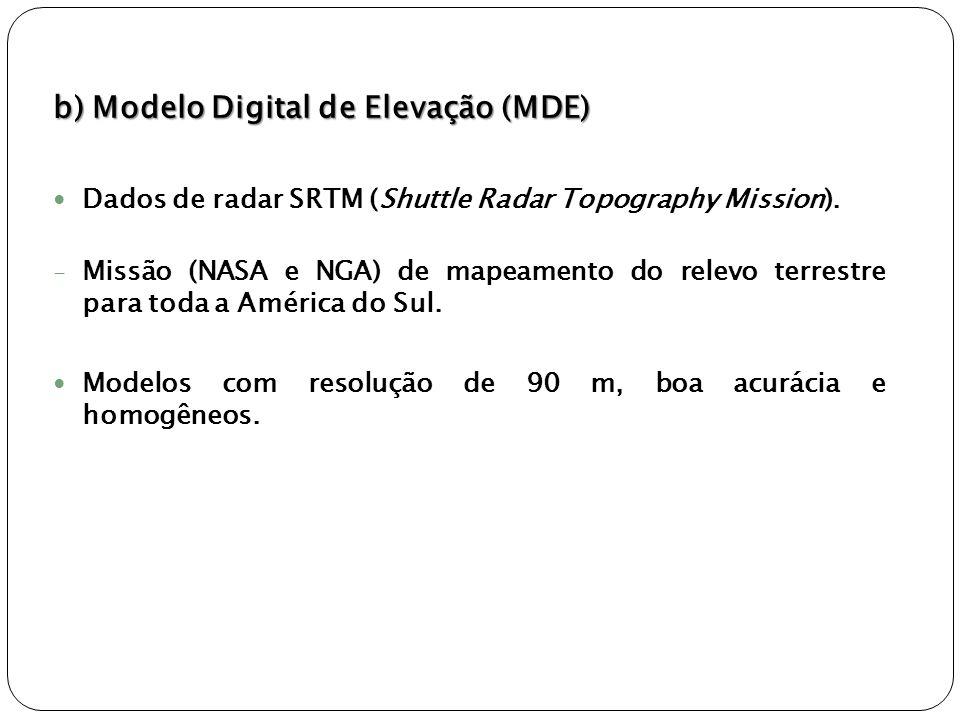 b) Modelo Digital de Elevação (MDE)