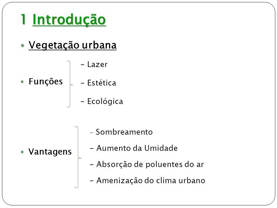 1 Introdução Vegetação urbana Funções Vantagens Lazer Estética
