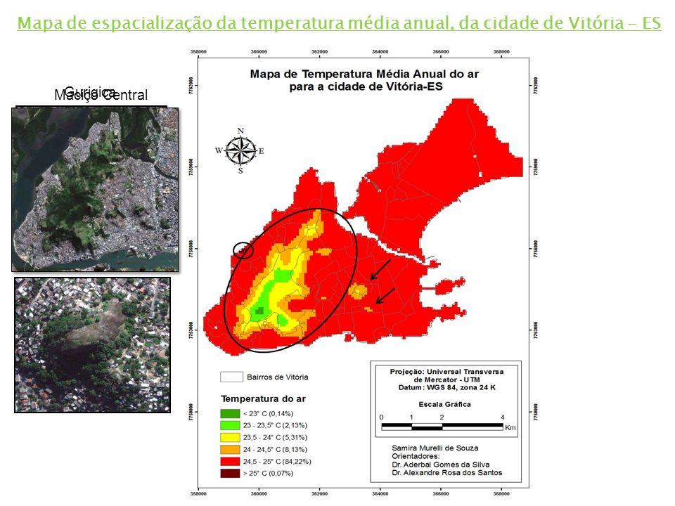 Mapa de espacialização da temperatura média anual, da cidade de Vitória - ES
