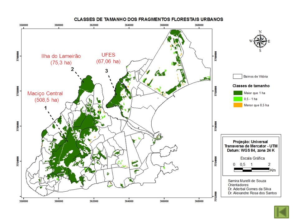 Ilha do Lameirão (75,3 ha) UFES (67,06 ha) Maciço Central (508,5 ha)