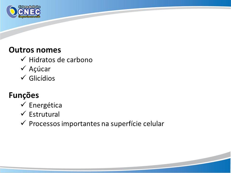 Outros nomes Funções Hidratos de carbono Açúcar Glicídios Energética