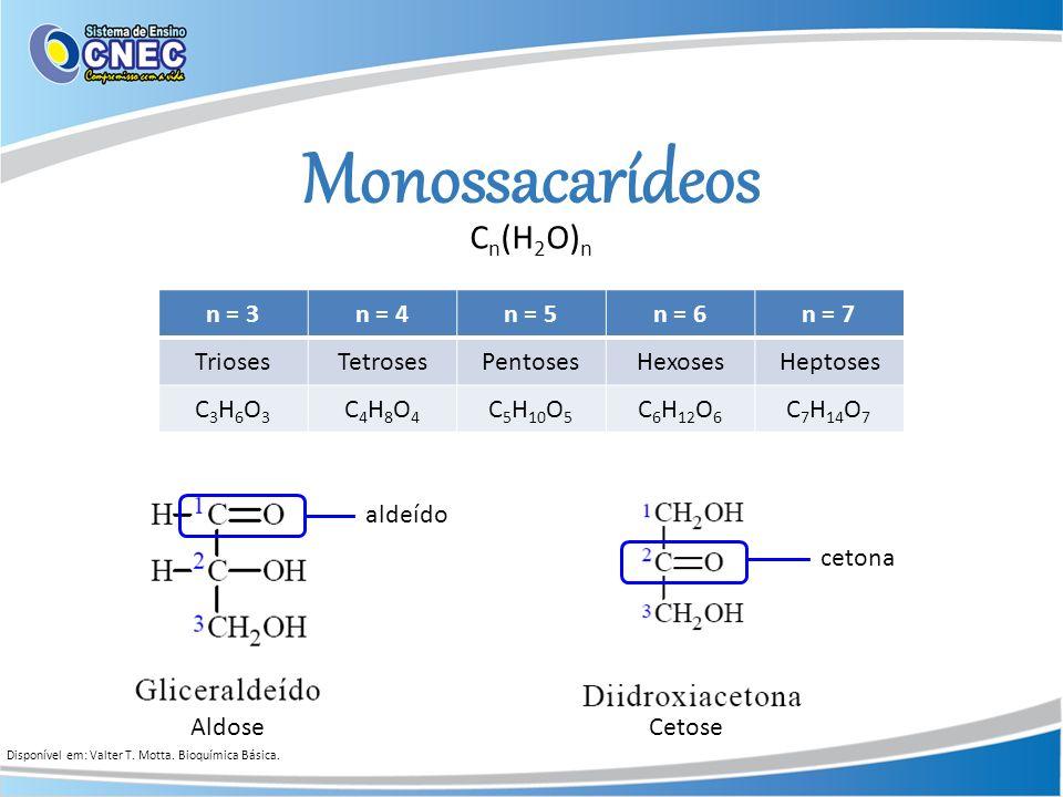 Monossacarídeos Cn(H2O)n n = 3 n = 4 n = 5 n = 6 n = 7 Trioses