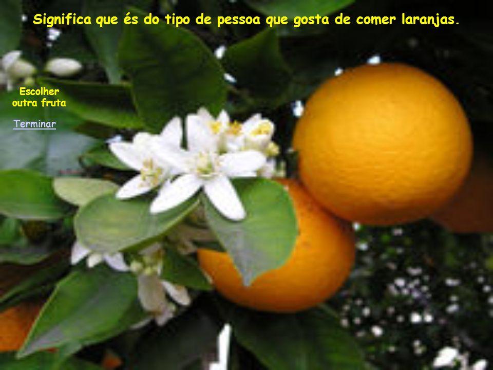 Significa que és do tipo de pessoa que gosta de comer laranjas.