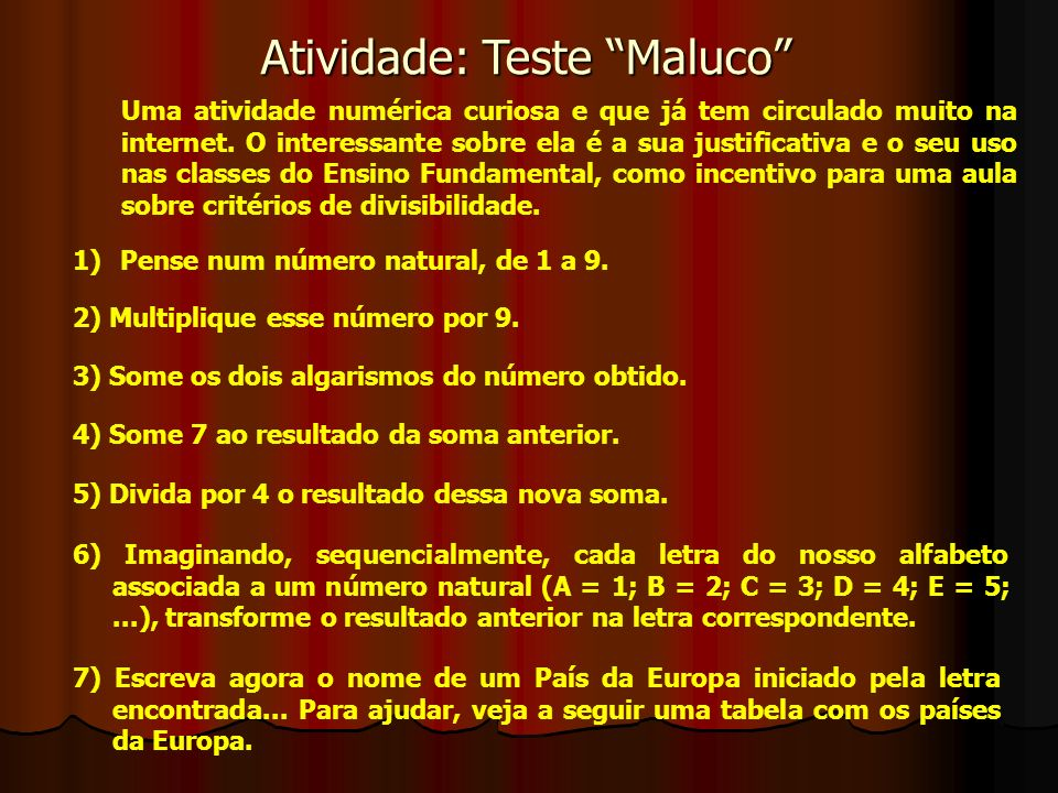 Atividade: Teste Maluco