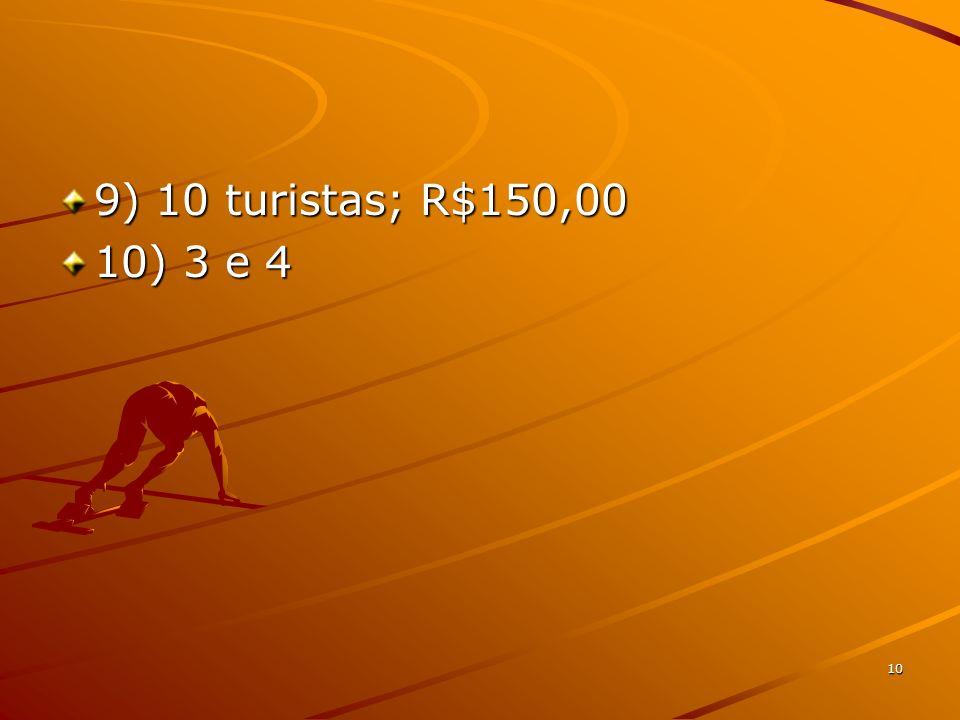 9) 10 turistas; R$150,00 10) 3 e 4