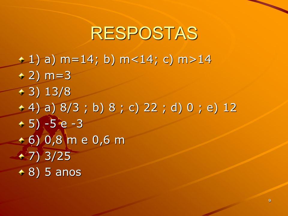 RESPOSTAS 1) a) m=14; b) m<14; c) m>14 2) m=3 3) 13/8
