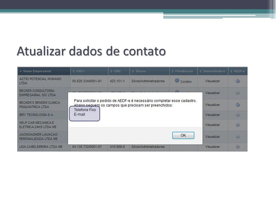 Atualizar dados de contato