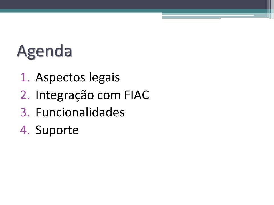 Agenda Aspectos legais Integração com FIAC Funcionalidades Suporte