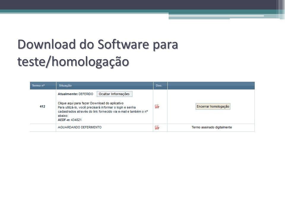 Download do Software para teste/homologação