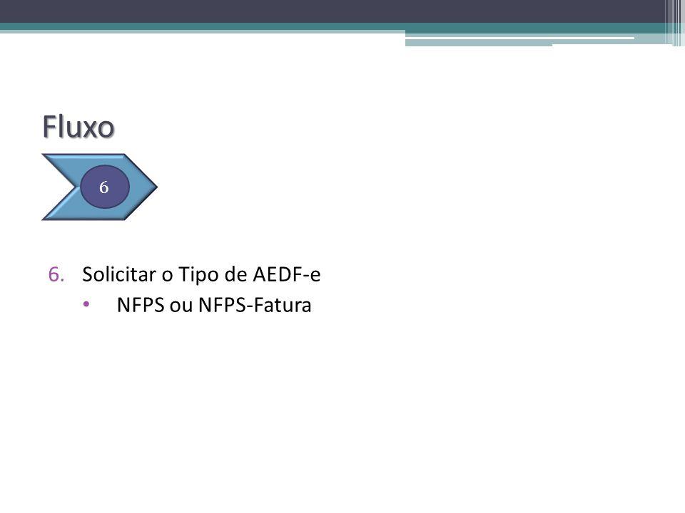 Fluxo Solicitar o Tipo de AEDF-e NFPS ou NFPS-Fatura 6