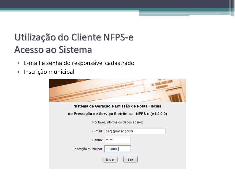Utilização do Cliente NFPS-e Acesso ao Sistema
