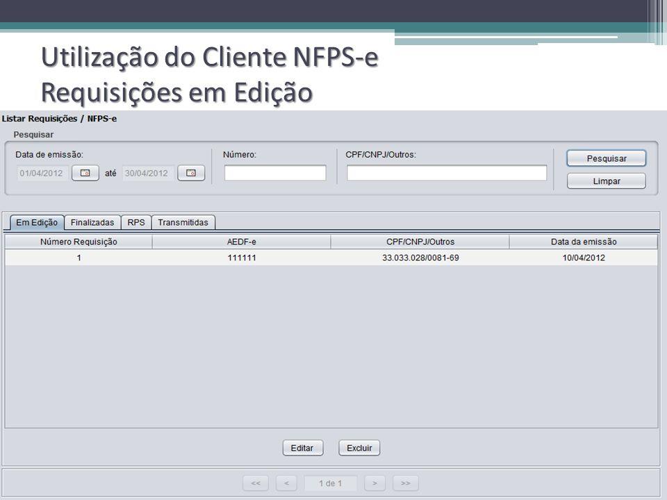 Utilização do Cliente NFPS-e Requisições em Edição