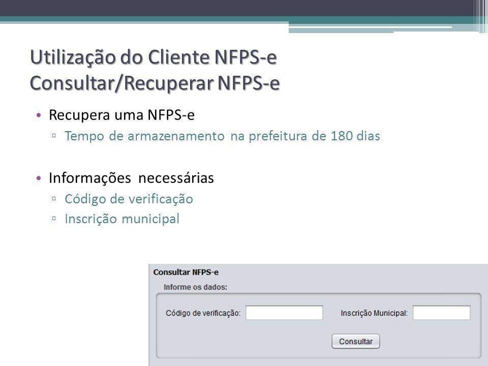 Utilização do Cliente NFPS-e Consultar/Recuperar NFPS-e