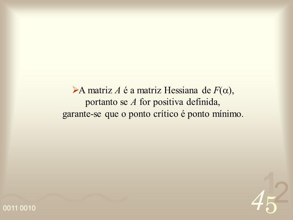 A matriz A é a matriz Hessiana de F(a),