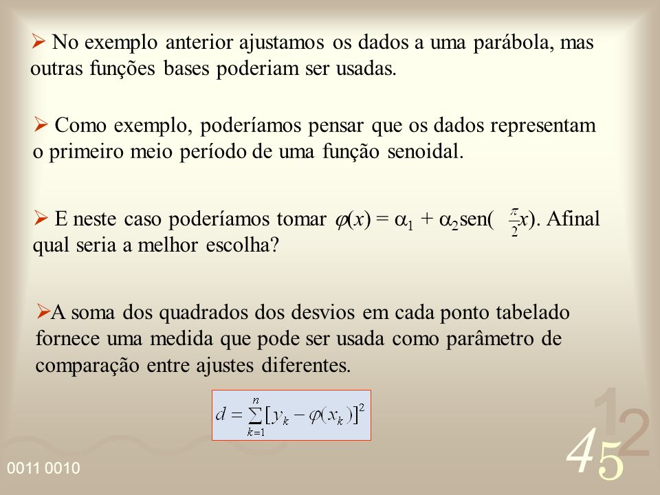 No exemplo anterior ajustamos os dados a uma parábola, mas outras funções bases poderiam ser usadas.