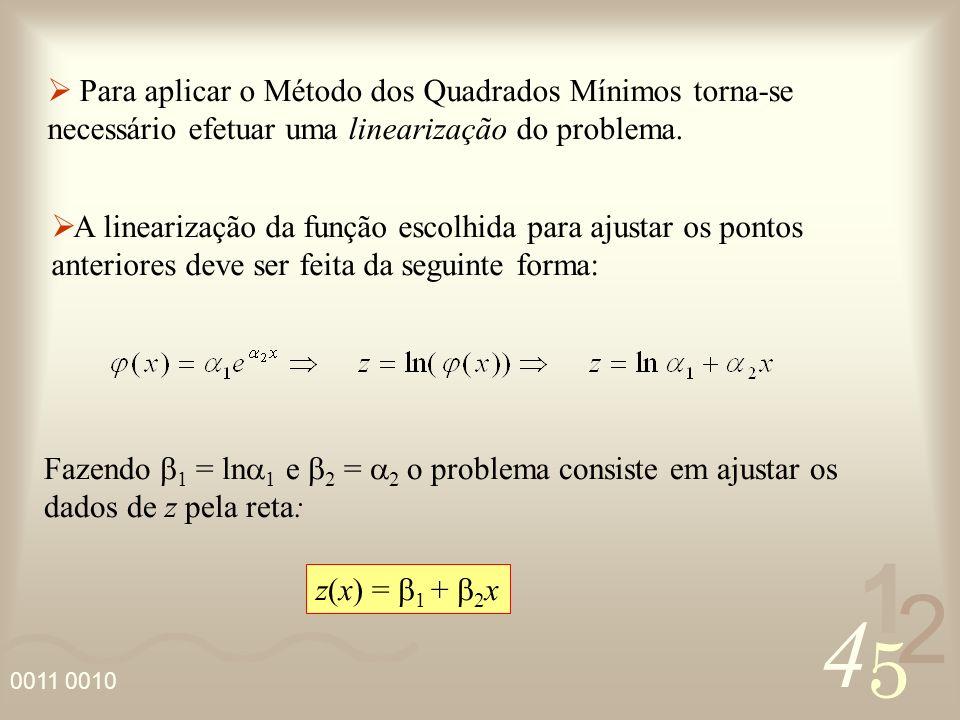 Para aplicar o Método dos Quadrados Mínimos torna-se necessário efetuar uma linearização do problema.