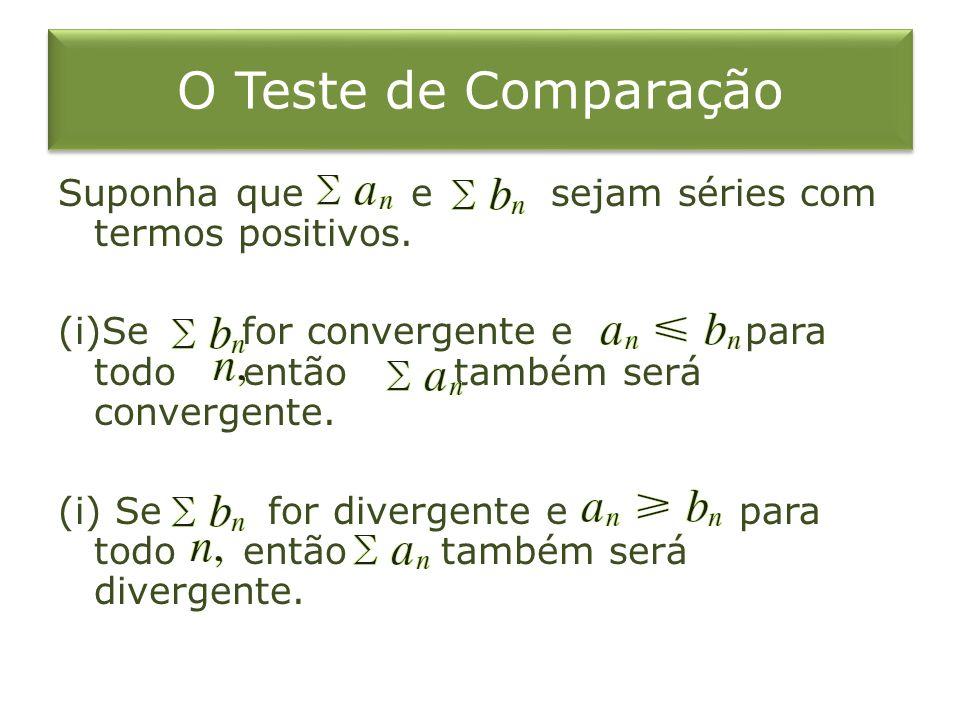 O Teste de Comparação Suponha que e sejam séries com termos positivos.