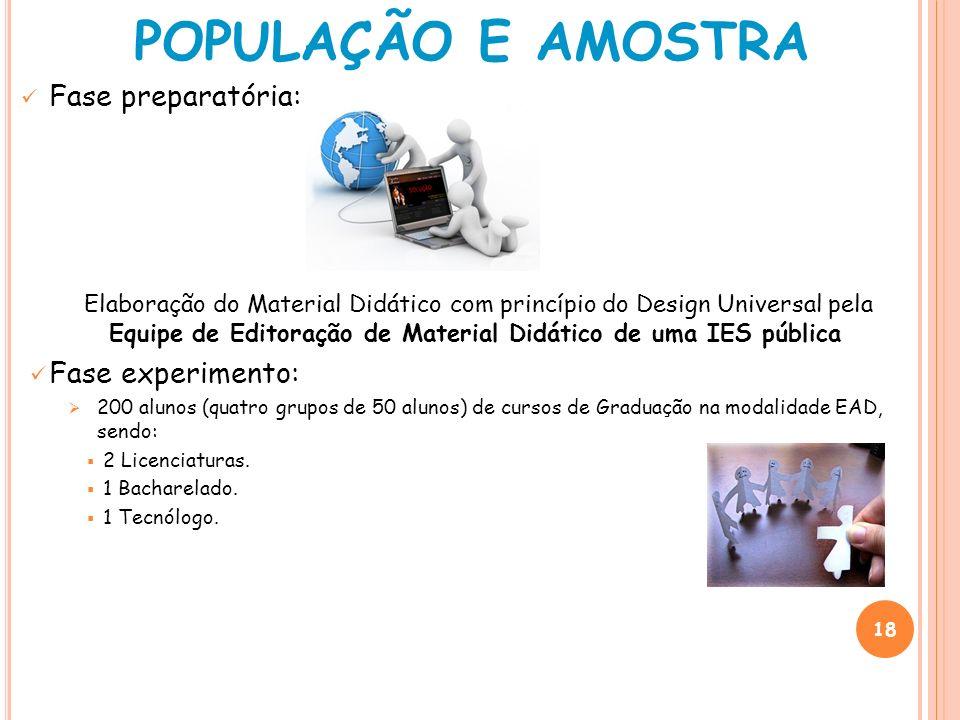 POPULAÇÃO E AMOSTRA Fase preparatória: Fase experimento: