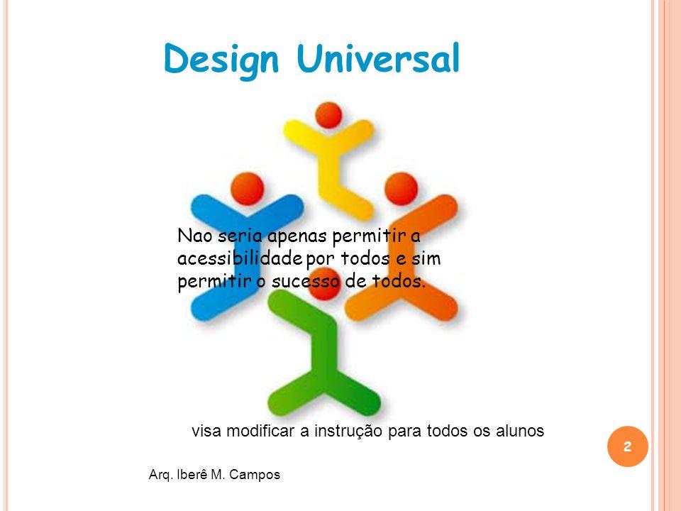 Design Universal Nao seria apenas permitir a acessibilidade por todos e sim permitir o sucesso de todos.