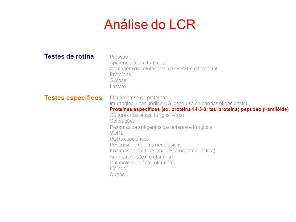 Análise do LCR Testes de rotina Testes específicos Pressão